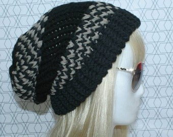 Black - Brown Beanie, cotton