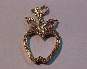 """10k yellow gold """"apple"""" charm----free shipping to the USA or Canada"""