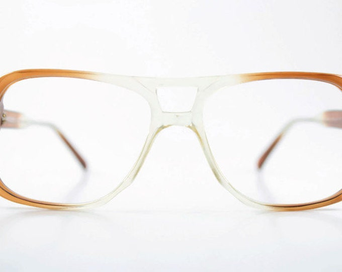 Vintage 70s Aviator Glasses | Clear Brown Aviator Eyeglass Frame | NOS 1970s Small Eyeglasses | Vintage Deadstock Eyewear  - Jim