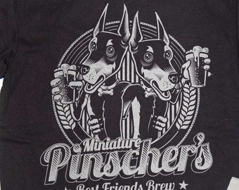 Miniature Pinscher Dog Shirt Craft Beer - T-Shirt Min Pin Dog Drinking Beer Shirt in Sizes Small to XXXL