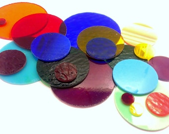 20 Assorted Stained Glass Circles 1 Inch - 3 Inches, Non-Fusible or 90 COE Fusible Precut Stained Glass Craft Art Supply