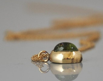 Green Tourmaline , Solid Gold Tiny Pendant , Tourmaline Necklace , 14k Gold Necklace