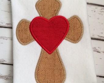 Cross Applique Design - Cross Embroidery Design - Heart Applique Design - Religious Applique Design - Applique Design - Easter Applique