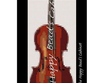 "Peyote , loom beading bracelet pattern, ""Violin"" - INSTANT DOWNLOAD PDF , bracelet, cuff, jewelry,musical instrument pattern"