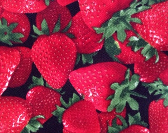 One Fat Quarter of Fabric Material - Strawberries