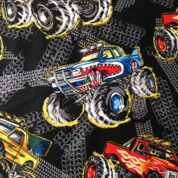 One half yard of fabric material monster trucks black for Monster truck fabric