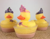 Princess Rubber Duck Soap, Strawberry Scented Kids Soap, Toy Rubber Duck Squirter, Gentle Glycerin Soap Girls Soap Birthday Party Favors