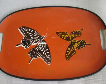 """Tray Asian Orange - Red 17"""" by 11"""" Mid Century Modern Japan 1960s"""