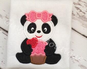 Girl Panda with Cupcake Valentine Shirt or Bodysuit