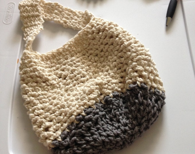 grey and white cotton crochet purse