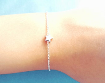 Tiny, Star, Bracelet, Gold, Silver, Star, Bracelet, Minimal, Cute, Dainty, Bracelet, Star, Jewelry, Minimal, Gift