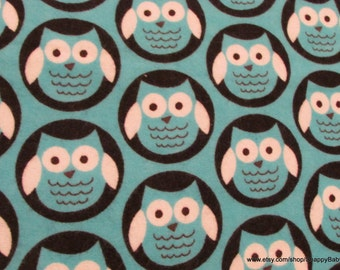 Flannel Fabric - Owl Circle Blue - By the yard - 100% Cotton Flannel