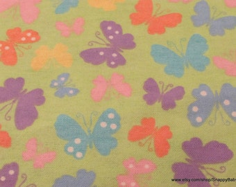 Flannel Fabric - Butterflies on Lime Green - 1 yard - 100% Cotton Flannel