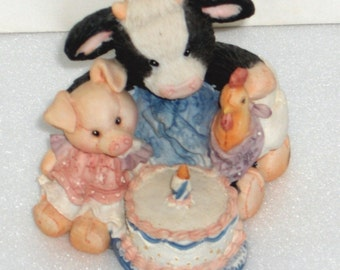 Enesco Marys Moo Moos Butter Cream Wishes, Cow, Pig and Chicken