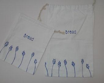 Organic cotton, screen-printed bread bags.