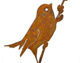 Bird on a Willow - Steel Silhouette with Rusty Patina