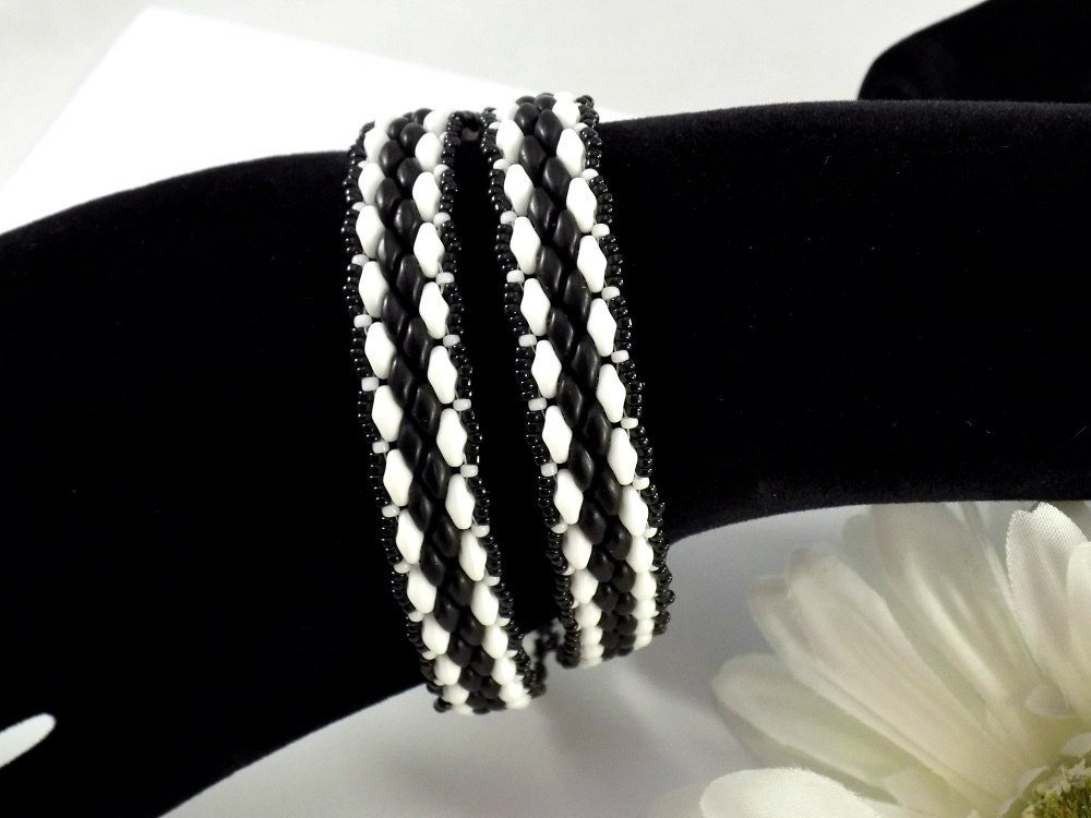 black and white super duo wrap bracelet. Black Bedroom Furniture Sets. Home Design Ideas