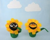 Yellow Flower Hand Puppet  Kids Toy Eco Friendly Eco-fi Felt Childs Black-eyed Susan Flower Muppet Toy Summer Gift May Day