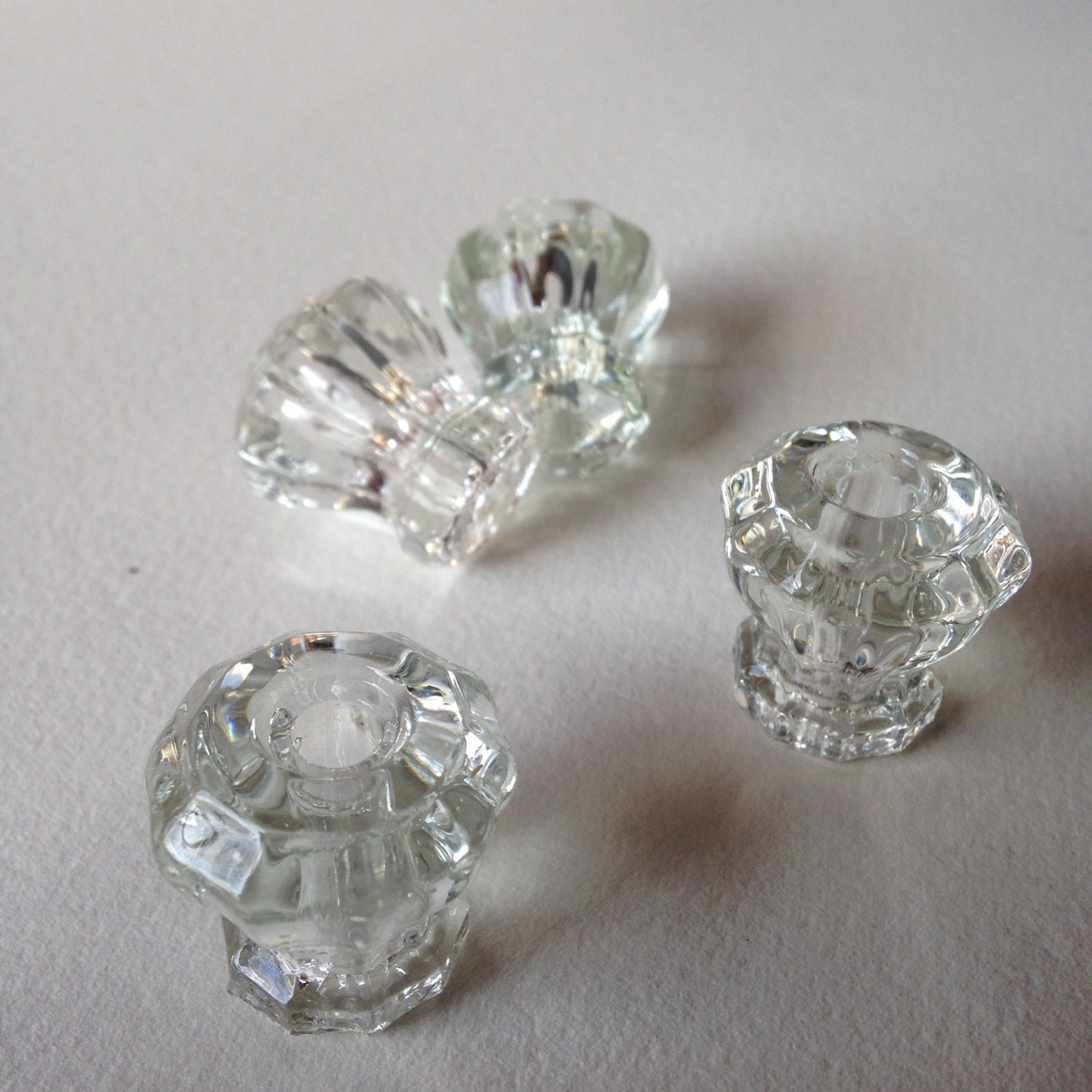 Set Of Four Matching Antique Clear Glass Drawer Or Cabinet Pulls Or Knobs By