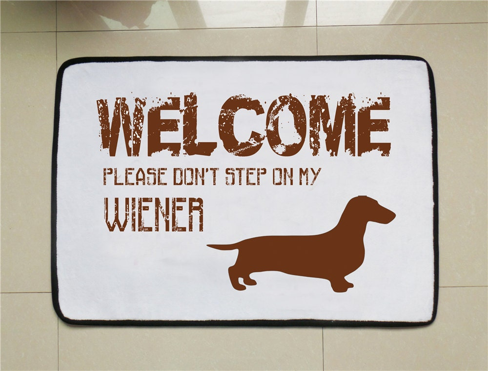 Wiener dog door mat funny welcome mat dog lovers gift custom for Door quotes funny