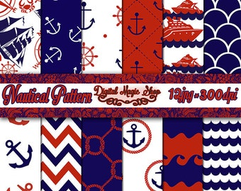 Nautical Digital Paper - Navy Blue and Red - Seamless pattern - 12pcs 300dpi (paper crafts, card making, scrapbooking) Commercial use
