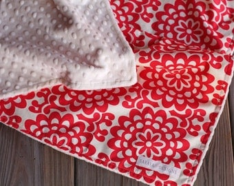 Baby Blanket - Amy Butler Wallflower in Cherry with Ivory Minky Dot - Lotus Collection
