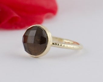 Smokey Quartz Gold Ring - Bezel Smokey Quartz  Ring - Handmade Gemstone Ring - size 3 4 5 6 7 8 9 10