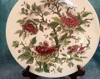 "Johnson Brothers 10.5"" Plate Red and Green Flowers"