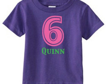Personalized Birthday Number T-Shirt - custom with ANY number and available in 8 color combinations | Birthday T-Shirt | 6th Birthday Shirt