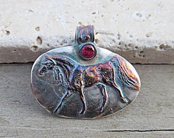 Fine SILVER Arabian HORSE Pendant w/ ornate bail & red cz handcrafted Artisan jewelry designed by Julie Ratzlaff produced by TimberHaven