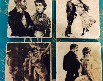 Lovely Couples Marble Tile Coasters- set of 4 // Couples // Love // Victorian // Chivalry // Amore // Date night // Romantic
