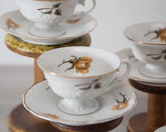 Set of 4 Vintage Polish Walbrzych Tea cup & saucer sets / Yellow Mustard Floral design / Made in Poland