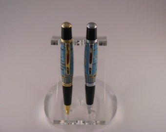 Handmade Blue Circuit Board Twist Ball Point Pen (24Kt Gold or Chrome  finish)includes Gift Box