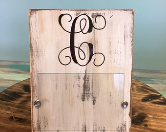 Distressed Monogramed Picture Frame