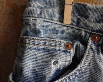GAP Original Fit Air Conditioned Faded Blue Jeans, Holey, Distressed, Destroyed, Worn Out, Hip Vintage Apparel, Urban Clothing, Size 12 Long
