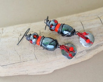 Industrial Nature earrings - Dangle, Silver, Funky, Edgy, Red, Orange,  Artisan,