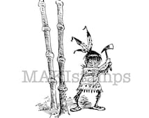 Rubber stamp Native American Brownie from our Wild West collection / Unmounted rubber stamp (150116)