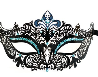 Black laser cut metal masquerade mask with light blue gems fit for masquerade ball parties and wedding parties