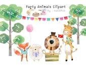 Animals party , woodland clipart Instant Download PNG file - 300 dpi