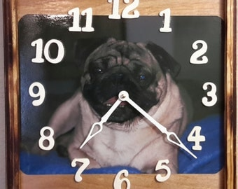 Handcrafted Pug Clock   price reflects 20% discount