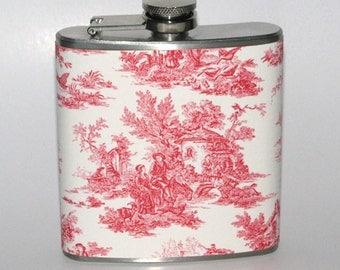 Red Vintage Antique Toile Print 6 oz Size Stainless Steel Liquor Hip Flask Flasks Weddings Bridesmaids Gift Idea