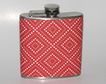 Red Abstract Design  6 oz Size Stainless Steel Liquor Hip Flask Flasks Weddings Bridesmaids Gift Idea