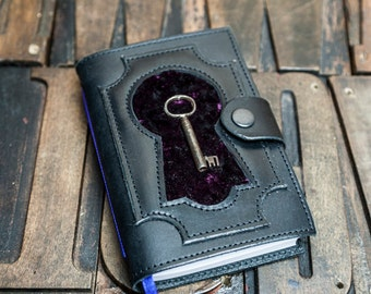 Black Leather Journal with vintage key