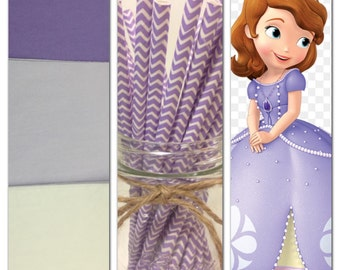Sofia the first theme colors ,set of 18 tissue paper pom poms and 1 pack of paper  straws/party decor/birthday decorations/paper poms/nurser