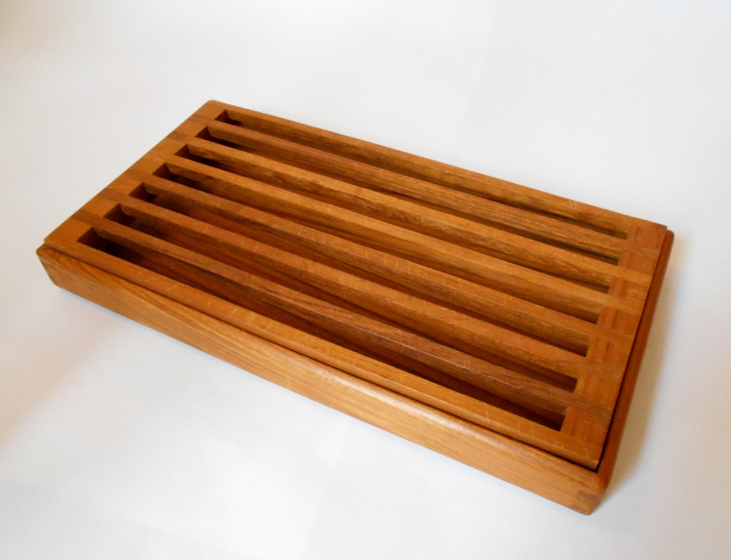 Teak Wood Pieces ~ Vintage piece danish modern bread cutting board teak wood