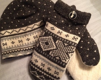 F2    Felted wool hat and mitten set   Size large   Lined with fleece