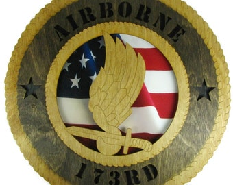 Army 173rd Airborne Laser Cut Military Wall Plaque with American Flag - Personalize It!