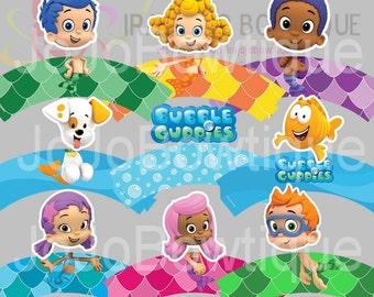 BUBBLE GUPPIES Cupcake Wrapper Set, Printable for Bubble Guppies Birthday, Bubble Guppies Party