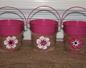 Decorated Pink Tin Pails (Set of 3)
