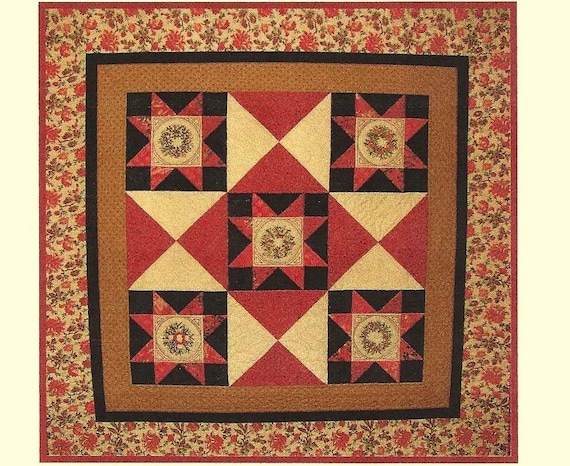 58 inch pine berries quilt pattern with hand embroidery for Front door quilt pattern